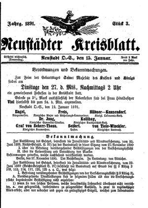 Neustädter Kreisblatt vom 15.01.1891