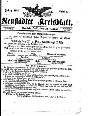 Neustädter Kreisblatt vom 22.01.1891