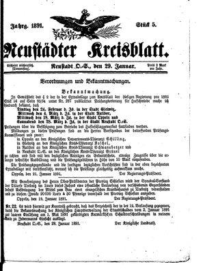 Neustädter Kreisblatt vom 29.01.1891