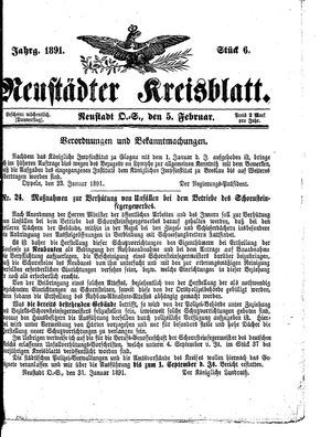 Neustädter Kreisblatt vom 05.02.1891