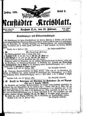 Neustädter Kreisblatt vom 19.02.1891