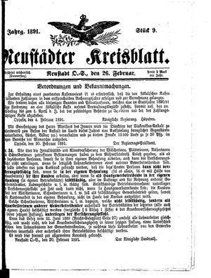 Neustädter Kreisblatt vom 26.02.1891