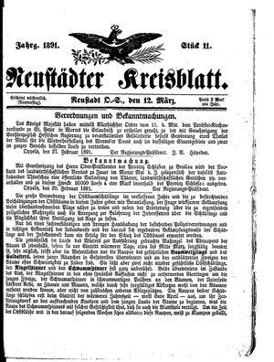 Neustädter Kreisblatt vom 12.03.1891