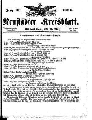 Neustädter Kreisblatt vom 26.03.1891