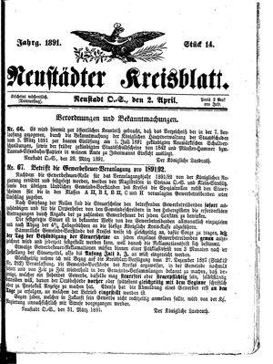 Neustädter Kreisblatt vom 02.04.1891