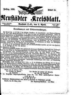 Neustädter Kreisblatt vom 09.04.1891