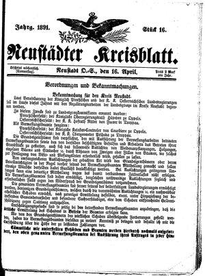 Neustädter Kreisblatt on Apr 16, 1891