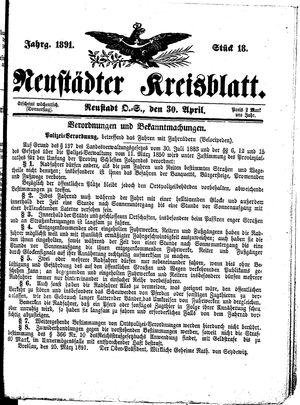 Neustädter Kreisblatt vom 30.04.1891