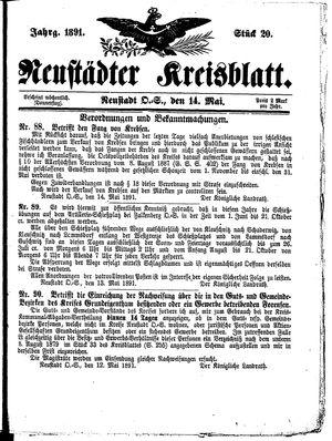 Neustädter Kreisblatt vom 14.05.1891