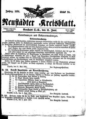 Neustädter Kreisblatt vom 11.06.1891
