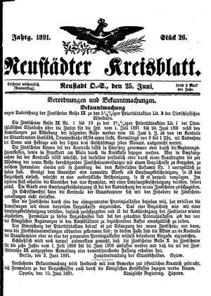 Neustädter Kreisblatt vom 25.06.1891