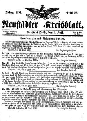 Neustädter Kreisblatt vom 02.07.1891