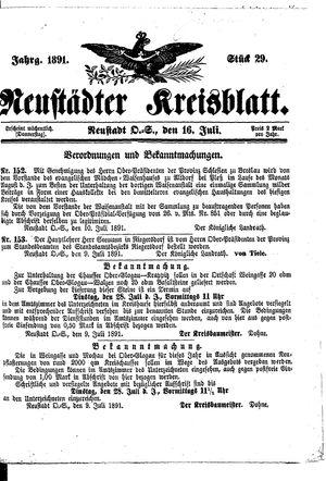 Neustädter Kreisblatt vom 16.07.1891