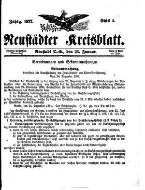 Neustädter Kreisblatt vom 28.01.1892
