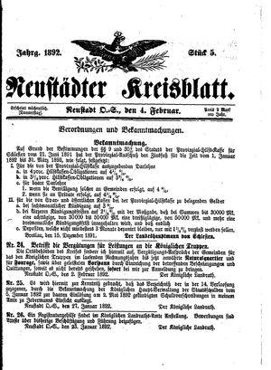 Neustädter Kreisblatt vom 04.02.1892