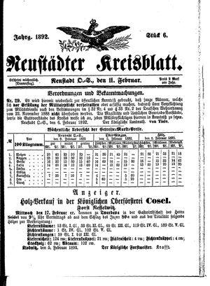 Neustädter Kreisblatt vom 11.02.1892