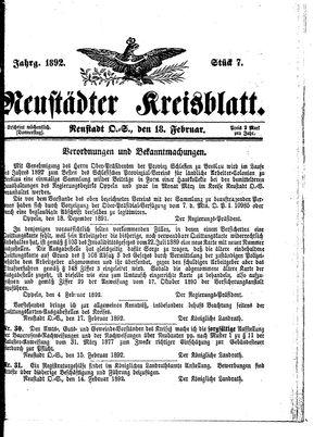 Neustädter Kreisblatt vom 18.02.1892