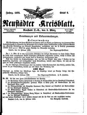 Neustädter Kreisblatt vom 03.03.1892