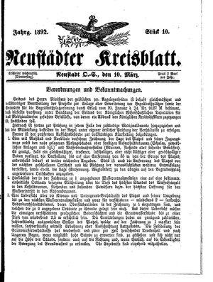 Neustädter Kreisblatt vom 10.03.1892