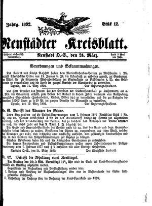 Neustädter Kreisblatt vom 24.03.1892