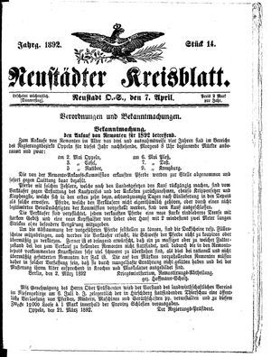 Neustädter Kreisblatt vom 07.04.1892