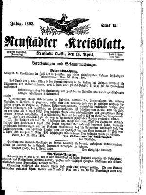 Neustädter Kreisblatt vom 14.04.1892