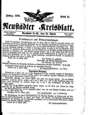 Neustädter Kreisblatt vom 21.04.1892