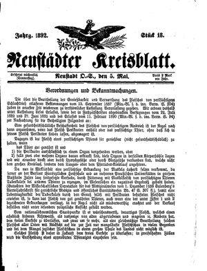 Neustädter Kreisblatt vom 05.05.1892