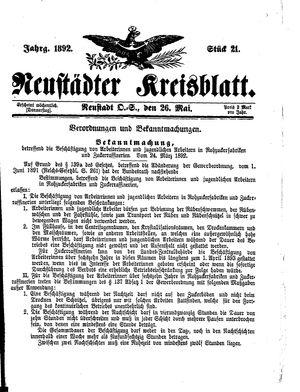Neustädter Kreisblatt vom 26.05.1892