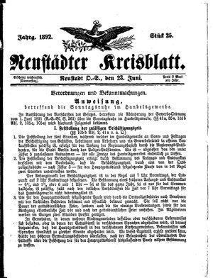 Neustädter Kreisblatt vom 23.06.1892