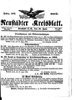 Neustädter Kreisblatt vom 30.06.1892