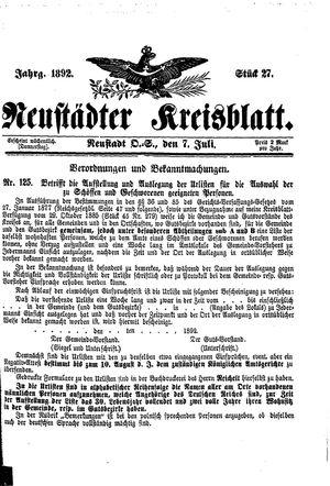 Neustädter Kreisblatt vom 07.07.1892