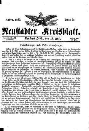 Neustädter Kreisblatt vom 14.07.1892