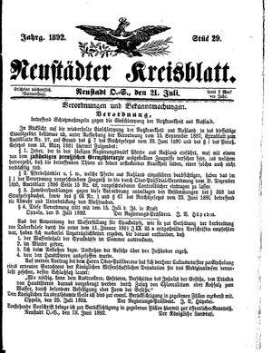 Neustädter Kreisblatt vom 21.07.1892