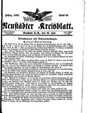 Neustädter Kreisblatt vom 28.07.1892