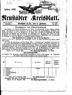 Neustädter Kreisblatt vom 05.01.1893