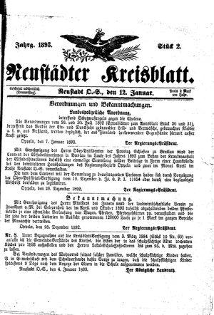 Neustädter Kreisblatt vom 12.01.1893