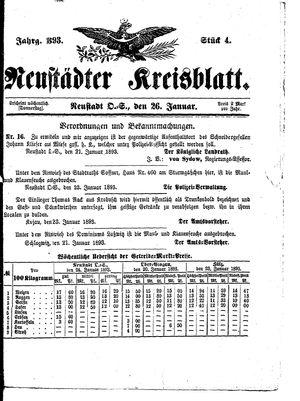 Neustädter Kreisblatt vom 26.01.1893