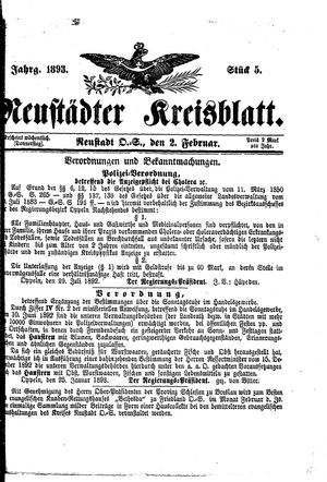 Neustädter Kreisblatt vom 02.02.1893