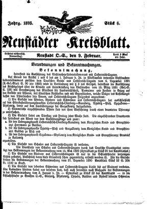 Neustädter Kreisblatt vom 09.02.1893