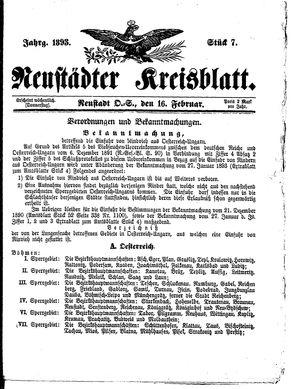 Neustädter Kreisblatt vom 16.02.1893