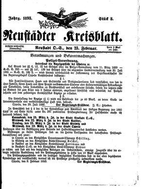 Neustädter Kreisblatt vom 23.02.1893