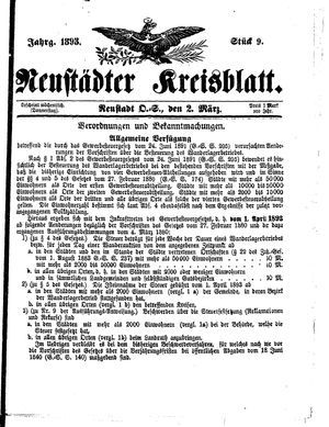 Neustädter Kreisblatt vom 02.03.1893
