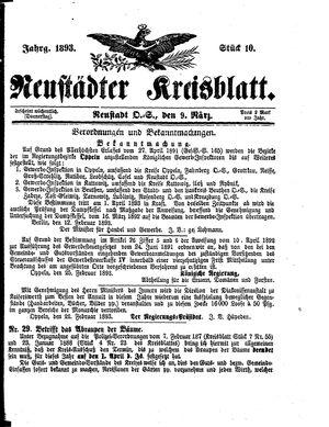 Neustädter Kreisblatt vom 09.03.1893