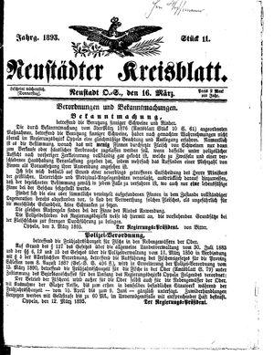 Neustädter Kreisblatt vom 16.03.1893