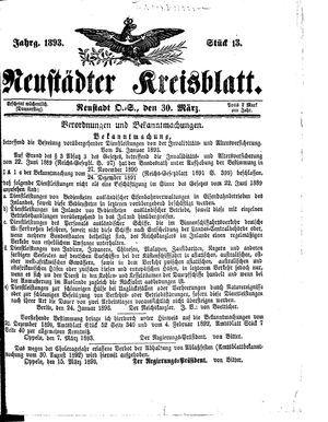 Neustädter Kreisblatt vom 30.03.1893