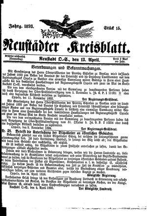 Neustädter Kreisblatt vom 13.04.1893