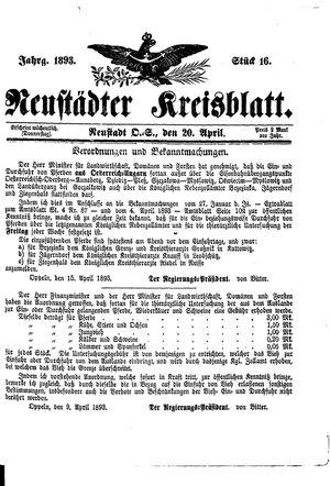 Neustädter Kreisblatt vom 20.04.1893