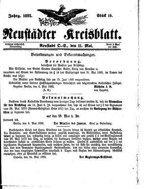 Neustädter Kreisblatt vom 11.05.1893