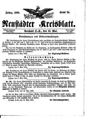 Neustädter Kreisblatt vom 18.05.1893